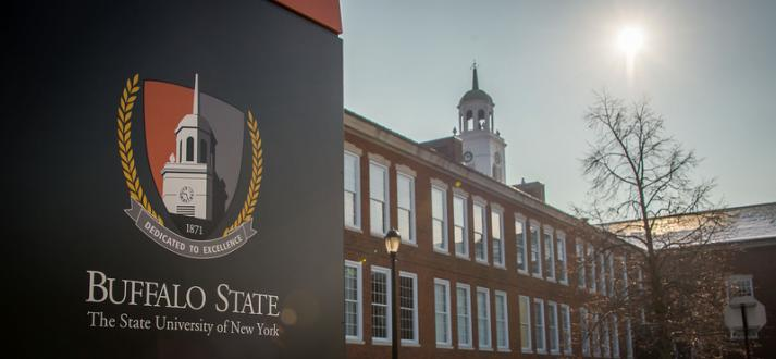 Image of Buffalo State sign in front of Rockwell Hall