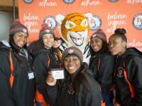 Students posing with Bengal at open house